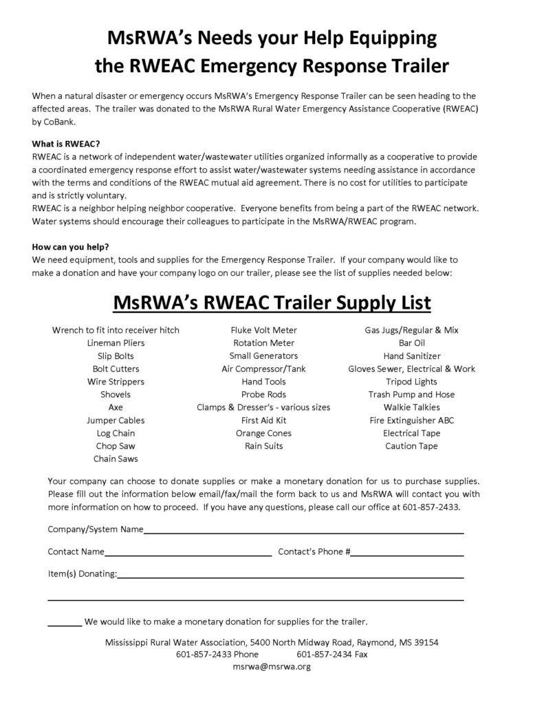 MsRWA Rural Emergency Assistance Cooperative Trailer